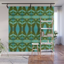 Palm Leaf Kaleidoscope (on blue sky) #1 Wall Mural