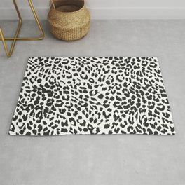 Black & White Leopard Print Rug
