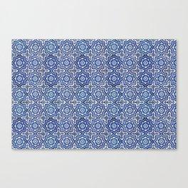 Blue ceramic tiles vintage pattern Canvas Print
