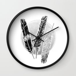 Three feathers in the circle Wall Clock