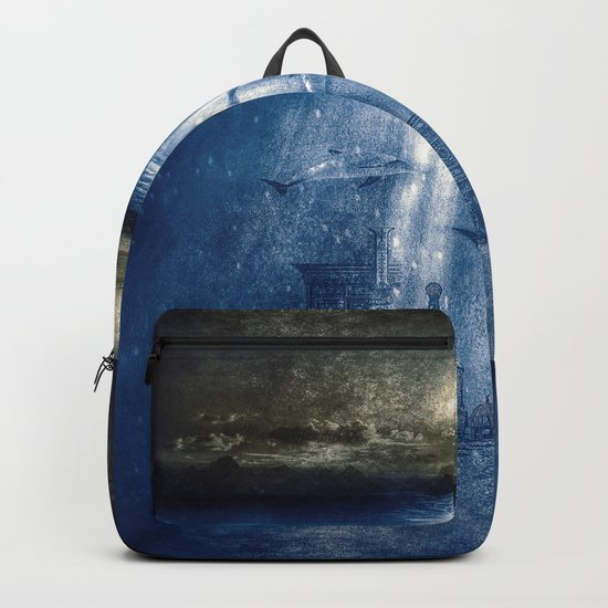 dolphins, civilization. Backpack
