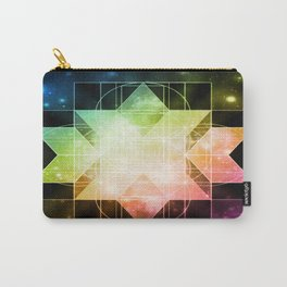 Rainbow Galaxy Sacred Geometry: Rhombic Hexecontahedron Carry-All Pouch