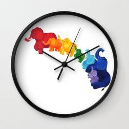 Elephant Rainbow Wall Clock