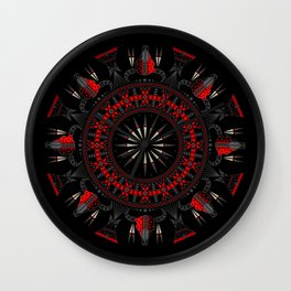 Buffalo Skull and Feathers (Red) Wall Clock