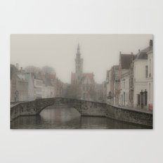 Misty Bridge of Bruges Canvas Print