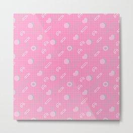 Abstract pastel pink turquoise geometrical memphis pattern Metal Print