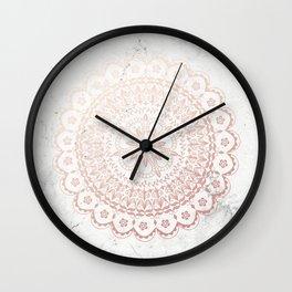 Rose gold mandala and grey marble Wall Clock