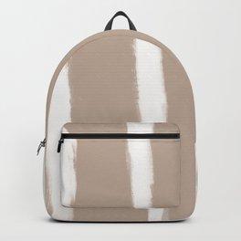 Medium Brush Strokes Vertical Off White on Nude Backpack