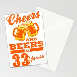 Cheers And Beers To 33rd Birthday Gift Idea Stationery Cards