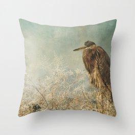 North Carolina Heron Throw Pillow