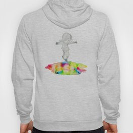 Girl jumping rainbow puddle Hoody