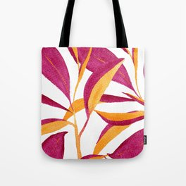 Ruby and golden leaf pattern in watercolor Tote Bag