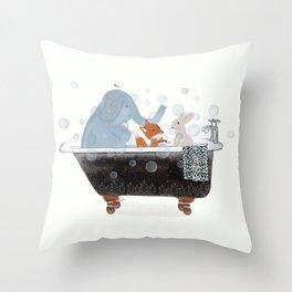 little bath time Throw Pillow