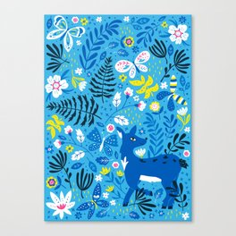 Deer and Butterflies (Sky Blue) Canvas Print