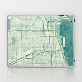 Chicago Map Blue Vintage Laptop & iPad Skin