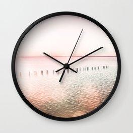 Pink Sunset Pier Wall Clock