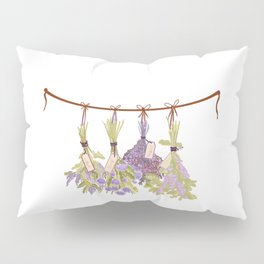 Herbs in Pastel Color Pink Bouquet Pillow Sham