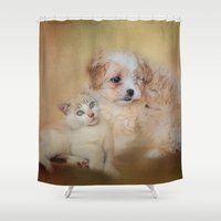 best friends Shower Curtains featuring Best Friends by Jai Johnson