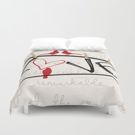 Love Letters Red Bird Clothesline A713 Duvet Cover