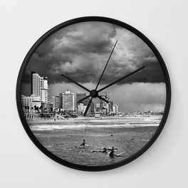 Surfers waiting for the wave, Tel-Aviv, israel Wall Clock