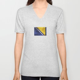 Vintage Aged and Scratched Bosnian Flag Unisex V-Neck