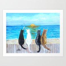 Cat Beach Sunset Art Print