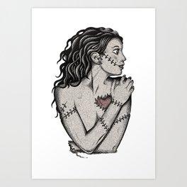 Her Heart Zombie Doll Art Print