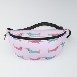 Cute dog lovers in pink background Fanny Pack