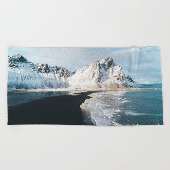 Iceland Mountain Beach - Landscape Photography Beach Towel