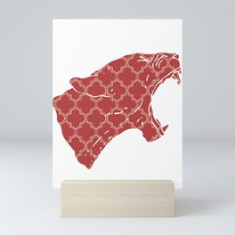 PANTHER SILHOUETTE HEAD WITH PATTERN Mini Art Print