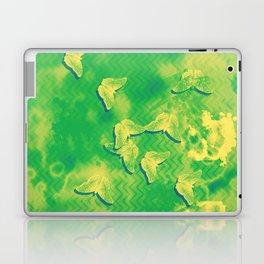 Yellow butterflies on textured green chevrons Laptop & iPad Skin