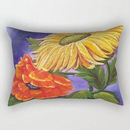Warm Flowers, Sunflower & Poppy Rectangular Pillow