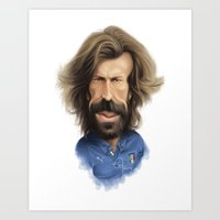 pirlo Art Prints featuring Andrea Pirlo - Italy by Sant Toscanni