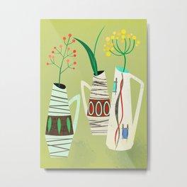 Three mid century vases Metal Print
