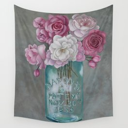 Antique Mason Jar Number 6 1858 with Pink Roses Wall Tapestry