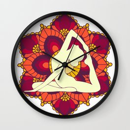 Women doing yoga mandala Wall Clock