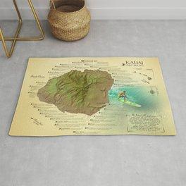 Kauai Surf Break Map Rug