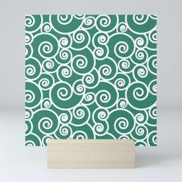 Abstract Waves Green White Pattern Mini Art Print