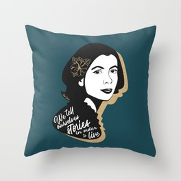 We Tell Stories - Joan Didion - Teal Throw Pillow