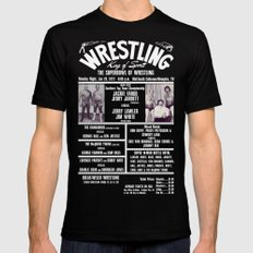 #8-B Memphis Wrestling Window Card Mens Fitted Tee SMALL Black