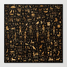 Ancient Egyptian Hieroglyphics Obsidian Copper Canvas Print