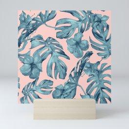 Island Life Teal on Light Pink Mini Art Print