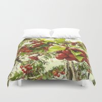 cherry Duvet Covers featuring Cherry by anif