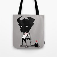 bull Tote Bags featuring bull by Negative Dragon