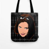 spice girls Tote Bags featuring Spice World - Victoria Posh Spice by Binge Designs Homeware