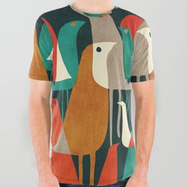 Flock of Birds All Over Graphic Tee