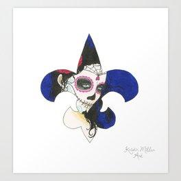 Fleur De Lis Día de los Muertos (Day of the Dead) Art Print