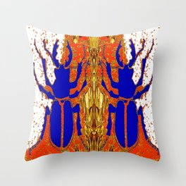 Lapis Blue Beetle on Gold Throw Pillow