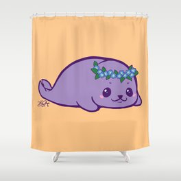 Baby Seal has Forget Me Nots Shower Curtain