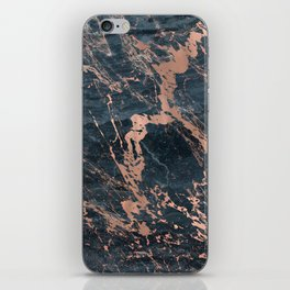 Blue & Rose Gold Marble iPhone Skin